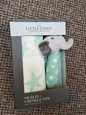 The Little Linen Company - Baby Muslin & Toy Gift Set