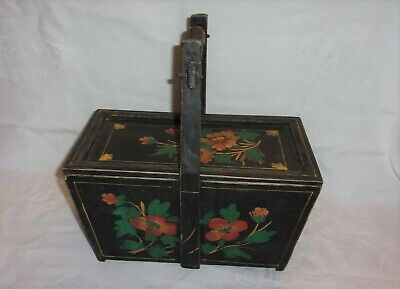Chinese Antique Wooden Box Rice Grain Basket w/Lid and Handle-NICE FLORAL DESIGN
