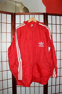 Vintage Adidas Wind Track running  RED  jacket size 42 made in Hong Kong  ALY