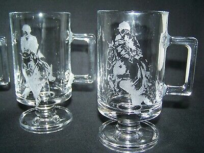 """Equine horse etched Coffee Mugs x 4 Clear Glass Drink; foot handle; 5 1/2"""" NICE!"""
