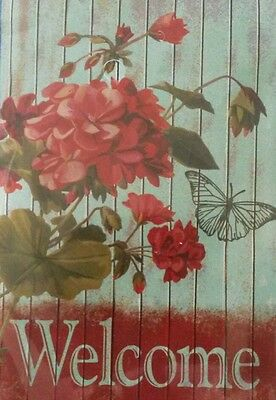 Large Garden Flax Welcome Floral red geranium butterfly 28 x 40 in