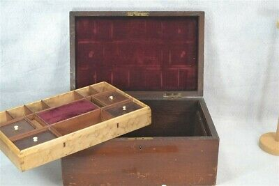 antique sewing box Victorian covered compartments tray wooden original 1800