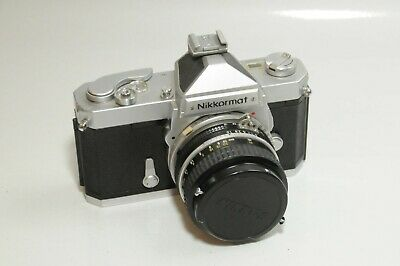 NIKKORMAT FT 35mm Film Camera with 50mm f1.8 Non AI Nikkor Lens, cap, and Case