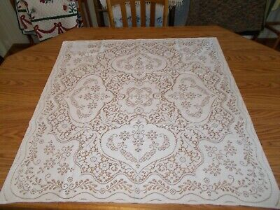 "Ivory Lace Tablecloth 35"" x 36"" GUC"