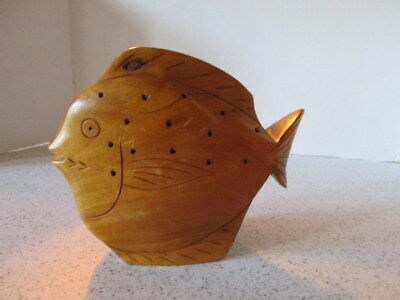 Vintage Hand-Carved Wooden Fish, House Of Distinction Hawaii, Milo Wood Carving