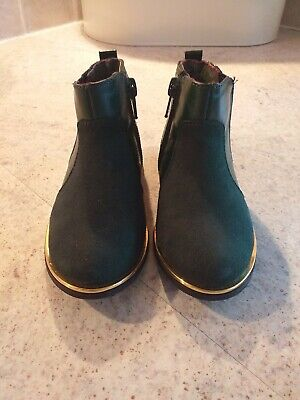 Girls Green With Gold Trim River Island Chelsea Boots With Zips Size 6 Kids