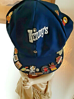 15 VINTAGE Wendy's OLD FASHIONED PINS & 2 CLASSY Crew Hats Caps SNAP BILL Hat