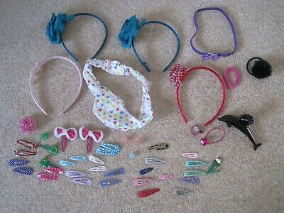 Mixed bundle of 48 hair accessories including clips, slides, bands, headbands