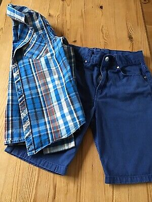 Bundle Age 7 Boys Blue Shorts And Blue Checked Shirt - Next, H & M