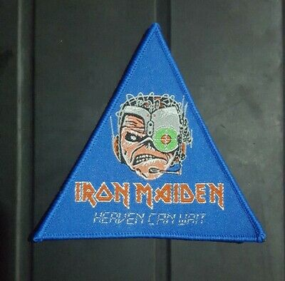 Iron Maiden Patch.Triangle Shield Badge Heaven Can Wait Cyborg Eddie New