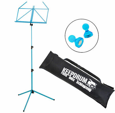K&m 100/1 Soporte de Música Atril Azul Mar + Keepdrum Funda + Imanes Azul 2 Pcs