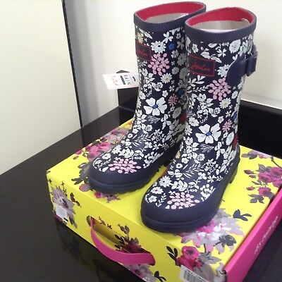 Joules French Navy Ditsy Floral Wellies. Boots. Size 12. New In Own Box