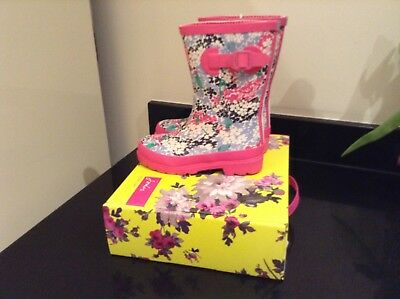 Joules Pink Ditsy Floral Wellies. Boots. Size 1. Brand New In Own Box