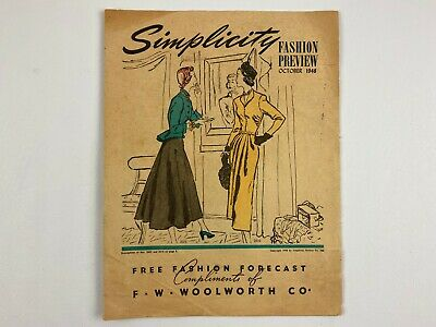 1948 SIMPLICITY PATTERNS Fashion Preview, Compliments of Woolworth Co.