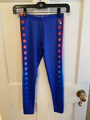 Rockets of Awesome Blue Leggings Pants With Stars Girls Size 8