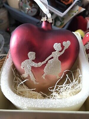 bethany lowe valentine Glass Heart Ornament With Box