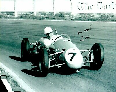 Sir Stirling Moss Formula 1Signed 10 by 8 inches Genuine Signature Photo