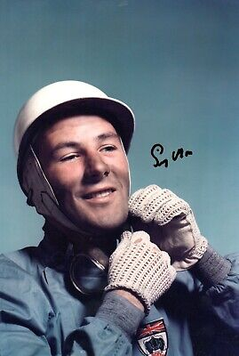 Sir Stirling Moss Formula 1Signed 12 by 8 inches Genuine Signature Photo