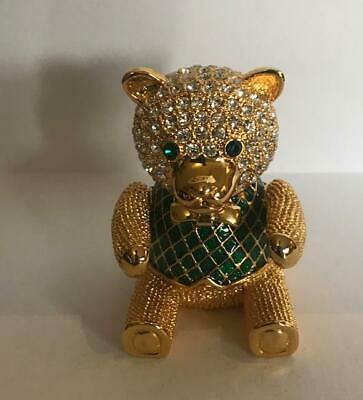 """RARE!~ """"CARUCCI- CRYSTAL TEDDY BEAR"""" Solid Perfume Compact w/Pouch"""
