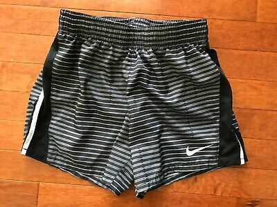 Nike Dri Fit Youth Girls Shorts Size Large (10-12) Black and Gray Striped