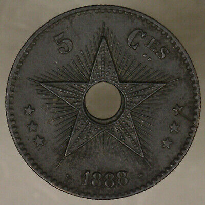 Begiah Congo Congo Free State 1888/7 5 centimes AU copper