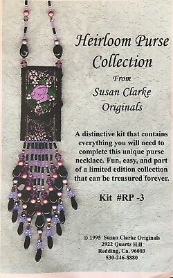 Heirloom Purse Necklace Kit # RP-3, Susan Clarke Originals, glass beads ribbons