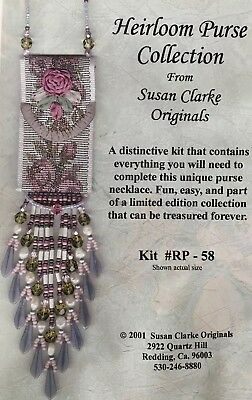 Heirloom Purse Necklace Kit # RP-58, Susan Clarke Originals, glass beads ribbons