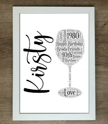 PERSONALISED WINE GLASSES A4 WORD ART PRINT 220GSM Birthday Gift Picture WEDDING