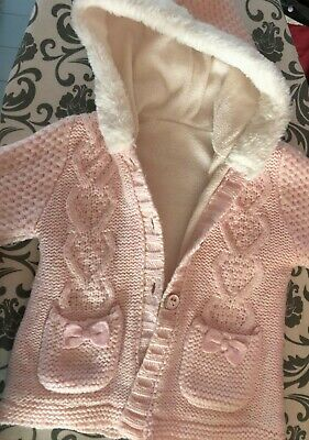 Baby girls 9-12 months long sleeved knitted hooded cardigan / jacket
