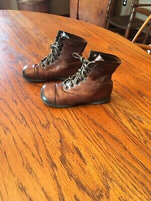 Antique Victorian Lace Up Childrens Brown Leather Shoes