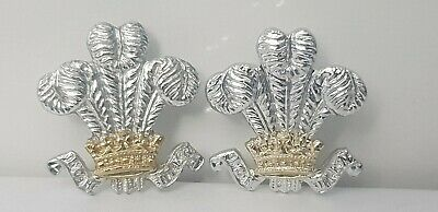 Prince of Wales Feathers pair of staybrite collar badges