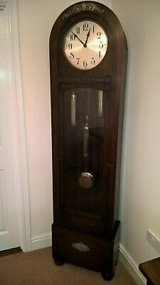 "Grandfather Clock Art Deco Longcase 6ft 5"" Tall Dome Top Working 1930s Dufa"