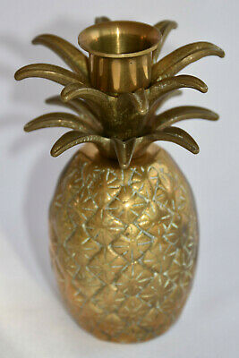 Vintage Heavy Brass Pineapple Candle Holder Symbol of Hospitality