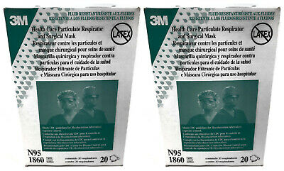 2 Boxes 3M N95 1860 Health Care Particulate Respirator & Surgical Mask 40 Count