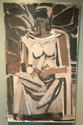 Vintage 50s  Abstract Painting Wall Hanging Mid Century Modern