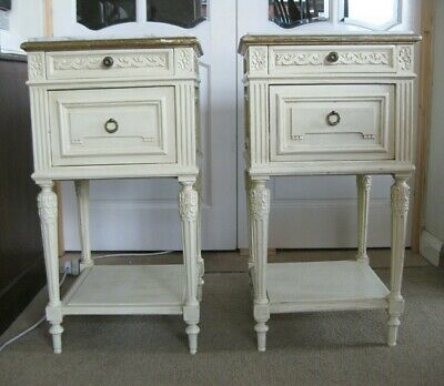 Antique French Hand Painted Marble Top Bedside Cabinets