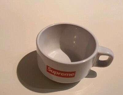 FW14 Supreme Espresso white ceramic cup small box logo