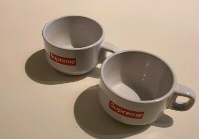 2x FW14 Supreme Espresso white ceramic cups small box logo
