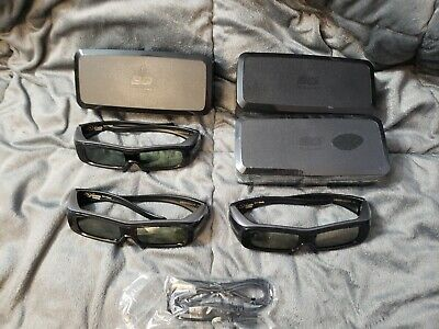 LOT of (4) Panasonic 3D 3 D Glasses TY-EW3D2M With Case And 2 Cords