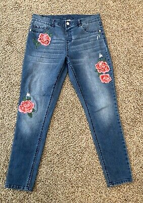Justice Girls 18 Plus Jean Jegging Denim Sequin Rose Pink Flowers Pull On Waist