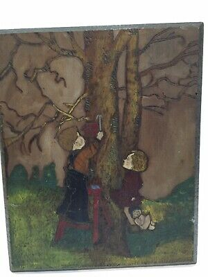 Folk Art Hand Carved/ Hand Painted Picture Of Boy & Girl Under Tree 12X14