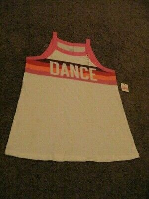 Justice ACTIVE   NWT  Girls Size  14   White DANCE Tank Top