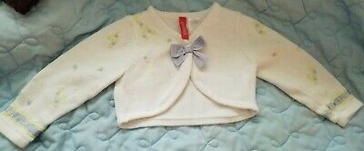White, Purple, & Green Embroidered Baby Shrug/Cardigan - 2T
