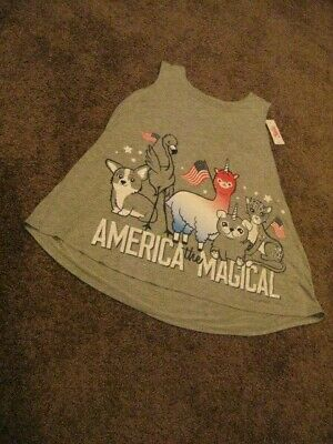 Justice    NWT  Girls Size  14/16    Gray AMERICA THE MAGICAL Tank Top