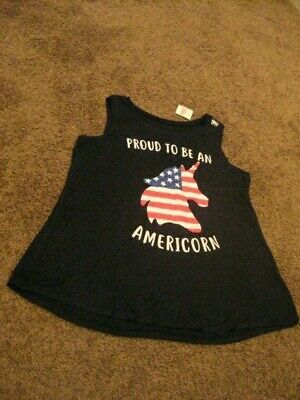 Justice    NWT  Girls Size  14/16    Black PROUD TO BE AN AMERICORN  Tank Top