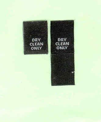 50 Dry Clean Only Woven Labels - White on Black