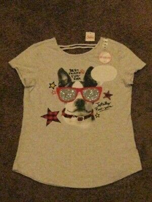 Justice  NWT  Girls Size 14  Gray Best Friend Fur-Ever Tee Shirt