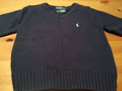 POLO by Ralph Lauren Classic Navy Blue V Neck Sweater 2 / 2T 100% cotton