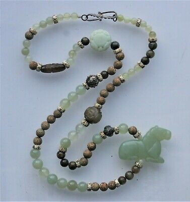 Large Vtg.chinese Carved Jade Horse And Beads Silver 925 Necklace  37''
