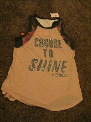 Justice ACTIVE  NWT Girls Size 14   Pink  CHOOSE TO SHINE GYMNAST Tank Top